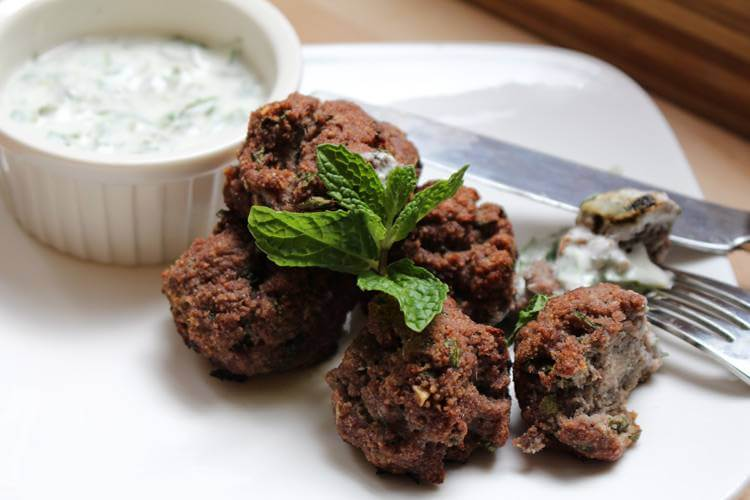 Grape Meatballs with Mint Yogurt