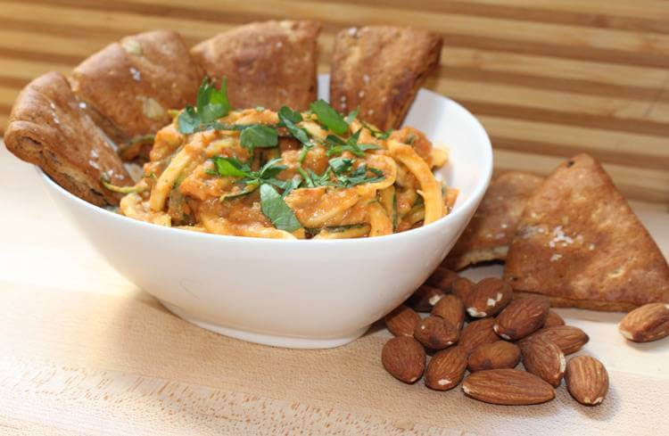 White Bean Romesco Sauce with Zucchini Noodles and Toasted Pita Points