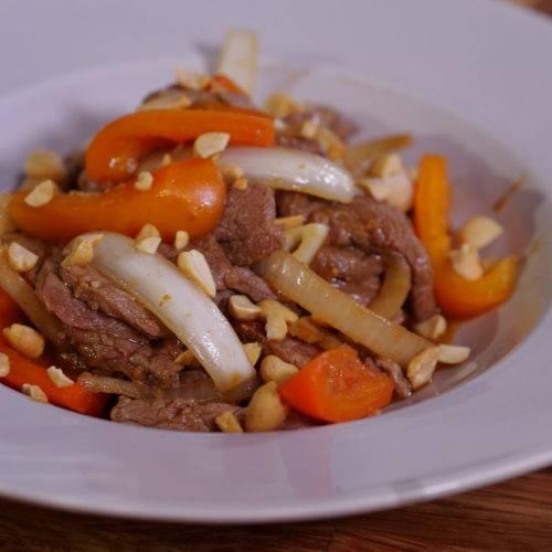 beef stir fry peppers peanuts