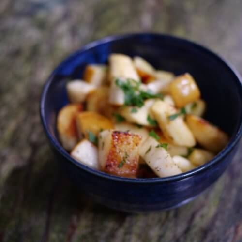 roasted pear and parsnips