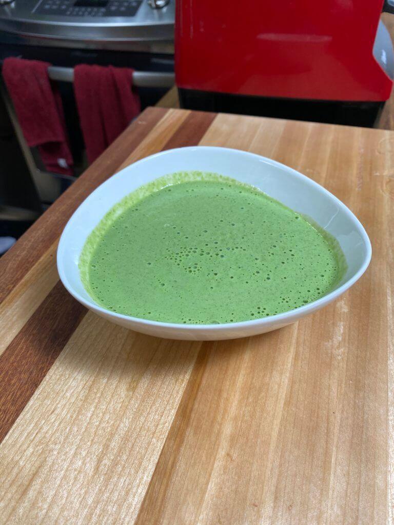 cilantro sauce in a bowl