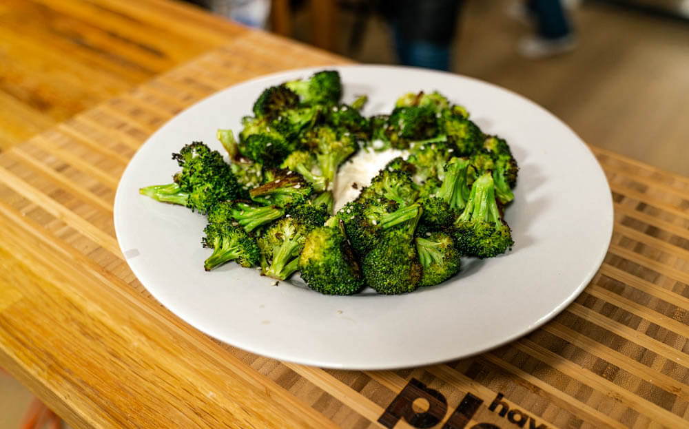 broccoli with lemon tahini dressing