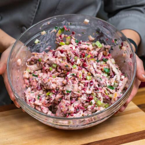 Cranberry Chicken Salad in big bowl
