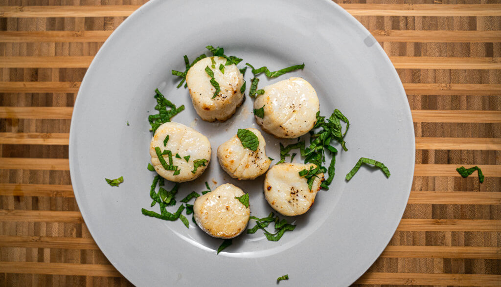 overhead, Broiled scallops