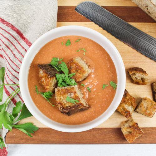 creamy vegetable soup overhead